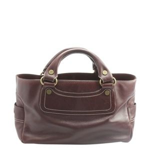 Céline Boogie Burgundy Leather Satchel